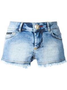 Shop PHILIPP PLEIN 'Wanna Go Out' denim shorts from Farfetch