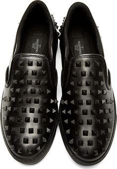 Valentino: Black Leather Studded Slip-On Shoes