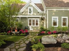 Exterior House Colors Farmhouse Landscaping Ideas For 2019 Farmhouse Landscaping, Front Yard Landscaping, Landscaping Ideas, Inexpensive Landscaping, Stone Landscaping, Walkway Ideas, Hydrangea Landscaping, Natural Landscaping, Entrance Ideas