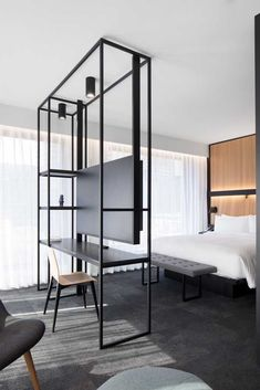 Hotel bedroom design - Hotel Monville impresses guests with sleek angles and space for art thanks to the innovations of ACDF Architecture – Hotel bedroom design Room Interior, Home Interior Design, Interior House Colors, Minimalist Home Interior, Interior Livingroom, Luxury Homes Interior, Apartment Interior, Kitchen Interior, Interior Ideas
