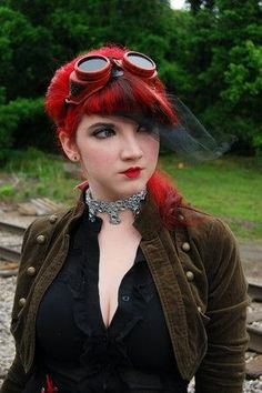 Steampunk girl: red hair, red goggles, red lips, and ready for anything! by Alba Tross