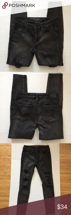 American Eagle Women Destroyed Black Jeggings Sz 6 Super Super Stretch Jeggings. Good used condition from a smoke free and pet free home. 1 business day shipping. Please message me if you have questions about this item. I am happy to assist you. American Eagle Outfitters Jeans