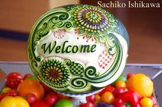 【Watermelon Carving】~for VIPs party 2017 ~ This work designed it in the image of summer in Japan. I inlay the fireworks with vegetables. 日本の夏をイメージしてデザインした作品です 黒皮のスイカの色を夜空に見立て、花火の部分は野菜で象嵌しています。