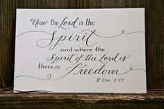 Hand-Lettered Scripture Print - II Corinthians 3:17 - Bella Scriptura Collection from Paperglaze Calligraphy