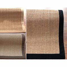 nuLOOM Handmade Eco Natural Fiber Cotton Border Sisal Rug (9 x 12). For the loom/spinning wheel area.