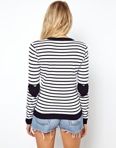Image 2 of ASOS TALL Sweater In Stripe With Heart Elbow Patch