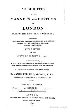 1810  Anecdotes of the Manners and Customs of London, During the Eighteenth Century. books.google.com