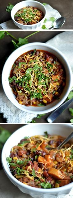 This EASY Instant Pot Vegetarian Chili is made in less than 20 minutes from start to finish! All the same flavors of hearty chili in a fraction of the time. Veggie Chili, Vegetarian Chili, Vegetarian Recipes Easy, Vegetarian Cooking, Veggie Recipes, Whole Food Recipes, Chili Chili, Chili Food, Tilapia Recipes