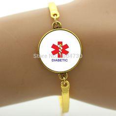 Handmade Alert Medical Diabetic Glass Tile Bracelets Bangle Antique Silver ,Rhodium Plated New Design Jewelry