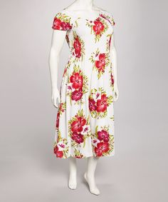 Loving this White & Red Floral Maxi Dress - Plus on #zulily! #zulilyfinds