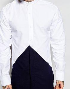 Image 3 ofNicce London Longline Diamond Shirt In Grandad Collar