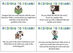 Classroom Freebies: Respond to Reading Task Cards