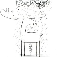 oliver jeffers _ Very first drawing from This Moose Belongs To Me
