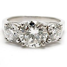 2 1/2 CARAT THREE STONE DIAMOND ENGAGEMENT RING SOLID PLATINUM