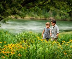 Children's Photography - this spring meadow and flowing river was the perfect backdrop for this timeless children's portrait