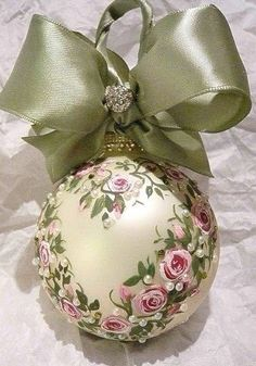 Victorian Inspired Roses and Pearls with Green Bow Christmas Ornament