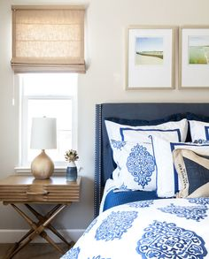 Coventry Gray walls by BM, Printed bed linens, Navy headboard