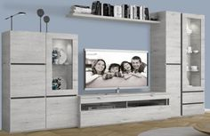 Composiciones de salón 295 cm. 284-043 SAL MOD 31 Living Room Wall Designs, Living Room Tv, Tv Wall Cabinets, Tv Cabinet Design, House Rooms, Gallery Wall, Buffet, Shelves, Home Decor