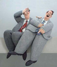 Laughing Boys, paper maché by Stephen Hansen