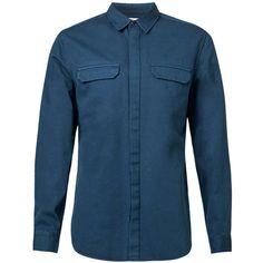 TOPMAN Ltd Navy Twill Shirt (340 HRK) ❤ liked on Polyvore featuring men's fashion, men's clothing, men's shirts, men's casual shirts, blue, mens woven shirts, mens blue shirt, old navy mens shirts, mens twill shirts and mens navy blue shirt