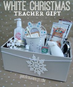 dreaming of a white christmas teacher gift idea with rubbermaid