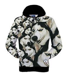Men's Hoodies Long Sleeve Hooded Zipper Printed 3D Funny Dog Sweatshirt