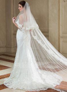Two-tier Chapel Bridal Veils With Lace Applique Edge $50 (006040682)