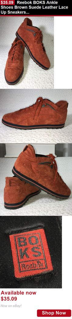 Women shoes: Reebok Boks Ankle Shoes Brown Suede Leather Lace Up Sneakers, Womens 8M BUY IT NOW ONLY: $35.09