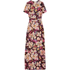MSGM Printed stretch-crepe gown (€940) ❤ liked on Polyvore featuring dresses, gowns, pink, pink evening gowns, pink gown, pink evening dress, floral dress and floral print dress
