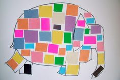 Elmer the Elephant Collages - my boys LOVE this book!