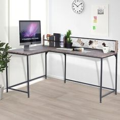 Symple Stuff Jewelry Cabinet with Mirror   Wayfair.co.uk Computer Desk With Shelves, Home Office Computer Desk, Desk Shelves, Home Office Space, Desk Space, Computer Keyboard, Gaming Desk Table, Table D'angle, Industrial Style Desk