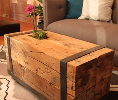 Upcycled Timber Coffee Table with Metal Frame