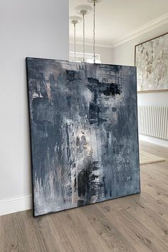 Extra large blue abstract painting, modern acrylic art, original abstract art, texture painting Blue Abstract Painting, Abstract Paintings, Oil Paintings, Blue Artwork, Texture Art, Blue Texture, London Art, Decoration, Modern Art