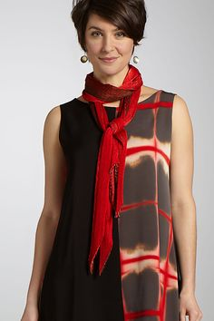 """""""Silk Single Pleat Scarf"""" created by Laura Hunter.  This bold yet sophisticated silk charmeuse scarf is hand pleated and dyed using the arashi shibori technique. Tapered ends add a touch of asymmetric appeal.   ★  Fabric & Care:  100% silk.  Dry clean with no steaming or pressing.  Size:   75''L x 18''W      Overview:        Artist-made in the U.S.A.    Fabric & Care:        100% silk      Dry clean with no steaming or pressing    Size:        Measurements: 75''L x 18''W"""