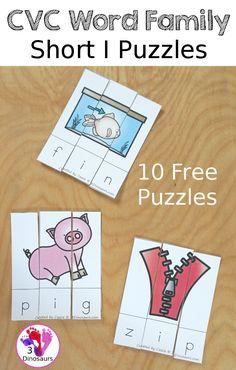 Free CVC Word Family Puzzles Short I: - 10 fun short I puzzles for kids to learn short I CVC words. -ib, -id, -ig, -in, -ip -it - 3Dinosaurs.com #freeprintable #learningtoread #cvc #3dinosaurs #handsonlearning #kindergarten Short I Words, Cvc Word Families, Bob Books, Rhyming Words, Hands On Learning, Puzzles For Kids, Gross Motor, Learn To Read, Dinosaurs