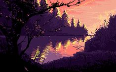 This landscape photo reminded me of a mysterious area, which is what the general tone of my art will be like. I like the different colors in the background that create more depth. Aesthetic Gif, Aesthetic Backgrounds, Aesthetic Wallpapers, Cool Pixel Art, Cool Art, Favelas Brazil, Arte 8 Bits, Pixel Art Background, Pix Art