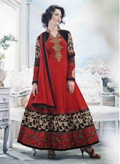 Alluring Red And Black Georgette Embroidery Work Anarkali Suit http://www.angelnx.com/Salwar-Kameez/Anarkali-Suits