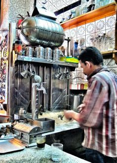 aH'kwaggi, man who makes the coffee, Cairo I want to taste his wares! Bound to be a flavor memory to treasure for years to come...or spend years trying to duplicate! #treasuredtravel