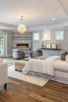 Spacious master bedroom in custom-built luxury home.  Definitely a gorgeous master bedroom.
