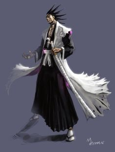 Zaraki Kenpachi again by mansarali on DeviantArt Ichigo Manga, Bleach Manga, Kenpachi Zaraki, Kuchiki Rukia, Shinigami, Dragon Ball, Red Dragon, Character Art, Character Design