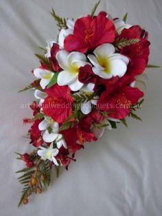 hibiscus bridal bouquet   Scarlet Bridal Bouquet artificial wedding bouquet