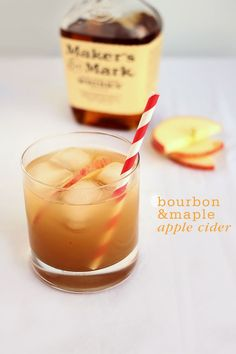 Bourbon Maple Apple Cider Makes 2 6 ounces Bourbon 4 teaspoons fresh lemon juice 4-6 teaspoons pure maple syrup to taste 1 cup spiced apple cider apple slices for garnish ice