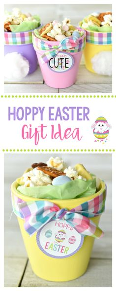 These cute little Easter gift ideas are irresistible. A little flower pot painted in pastel colors with a bunny pot and a cute Easter gift tag. Fill it with a fun snack mix or treat and it's perfect to take to a friend or give to your kids.