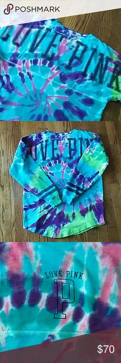 VS Love PINK Crew Shirt Long Sleeve tie die Victoria's Secret PINK Crew Size XS.... Oversized So Could Easily fit a S or M Beautiful Vibrant Colors of High Quality... Professionally tie dye so the colors will not fade or bleed.   This would make a great gift idea for your friend or daughter, remember the holidays are just around the corner.  Offers only by using the button Check out my Closet for more tie die PINK Victoria's Secret Tops Tees - Long Sleeve
