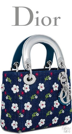 Brilliant Luxury * Dior Summer 2016 ~ Mini blue denim Lady Dior bag Cannage design embroidered with metallic flowers