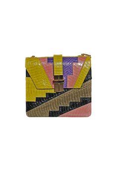 DECO STEP MIDI BOX BAG SNAKESKIN CHARTREUSE/PURPLE