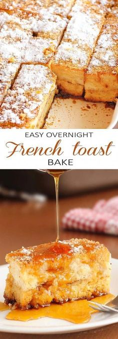 This Easy Overnight French toast bake just happens to be perfect for cold winter mornings, lazy weekend mornings, or as an easy, make-ahead Christmas morning breakfast. recipes make ahead Easy Overnight French Toast Bake - Cakescottage Nutella French Toast, Cinnamon French Toast, French Toast Bake, Breakfast Bake, Make Ahead Breakfast, Breakfast For Dinner, Breakfast Ideas, Brunch Ideas, Breakfast Recipes