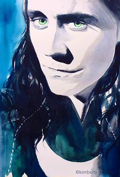 Loki by kimberly godfrey. Link: http://lokisarmy.org/2015/07/30/loki-tom-hiddleston-original-watercolour-painting-portrait-lokis-army/