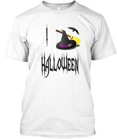 I Love Halloween T Shirt.  White T-Shirt Front