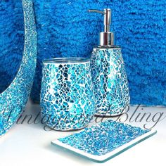 Crackle #glass bathroom #accessories #silver sparkle mirror set ...